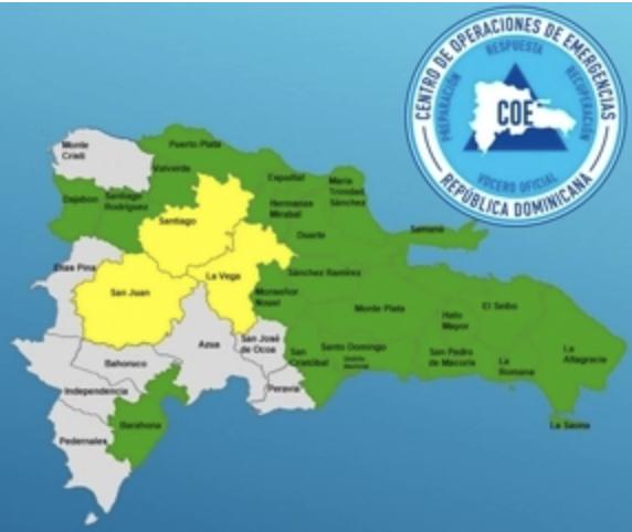 COE mantiene 23 provincias en alerta por vaguada